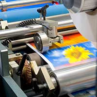 colourful poster being printed
