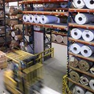 factory and warehouse storage of reels and fork lift truck