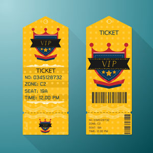 example of yellow ticket for VIP event