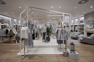 visual merchandising interior of The White Company store with mannequins