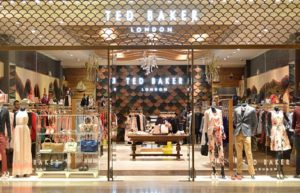 Ted Baker store with glass windows luxury clothing